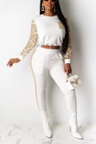Fashion Long Sleeve Sequin White Sports Suit
