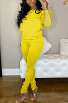 Casual Round Collar Net Sleeve Yellow Two Piece Suit