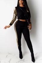 Fashion Long Sleeve Sequin Black Sports Suit