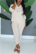 Fashion Casual Solid Color Hooded White Long-Sleeved Sweater Two-Piece