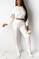Fashion Stitching Long Sleeve Sequin White Sports Suit