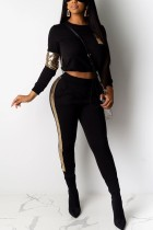 Fashion Stitching Long Sleeve Sequin Black Sports Suit