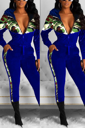 Fashion Velvet Patchwork Hooded Camouflage Navy Print Two Piece Suit