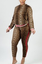 Fashion Casual Printing Leopard Two-piece Set