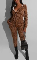 Fashion Leopard Printing Hooded Zipper Brown Sports Suit