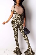 Sexy Fashion Printing Sling Flared Pants Leopard Suit