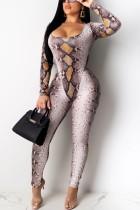 Fashion Printing Long Sleeve Bodysuit Khaki Set