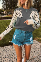 Casual Fashion Leopard Print Elastic Gray Sweater