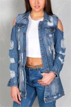 Fashion Sexy Denim Blue Long Sleeve Jacket (Without T-Shirt)