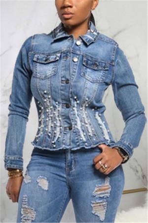Fashion Sexy Slim Denim Blue Long Sleeve Jacket