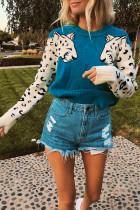 Casual Fashion Leopard Print Elastic Peacock Blue Sweater
