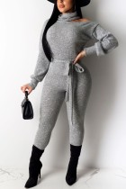 Sexy Off Shoulder High Neck Long Sleeve Gray Jumpsuit