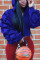 Stylish Casual Draped Sleeve Hooded Blue Tops
