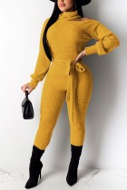 Sexy Off Shoulder High Neck Long Sleeve Yellow Jumpsuit