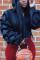 Stylish Casual Draped Sleeve Hooded Black Tops