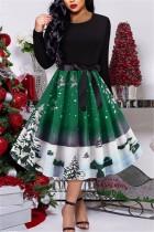 Christmas Retro Print Party Green Swing Dress