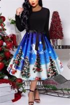 Christmas Retro Print Party Blue Swing Dress