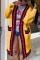 Casual Stitching Long Sleeve Yellow Cardigan Coats