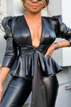 Fashion Sexy Solid Color Black Long Sleeve Jacket