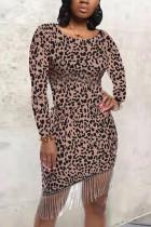 Sexy Round Neck Leopard Printing Black Dress