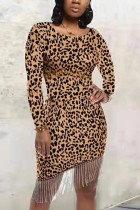 Sexy Round Neck Leopard Printing Brown Dress