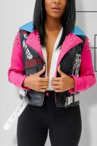 Fashion Patchwork Turndown Collar PU Pink Print Coat