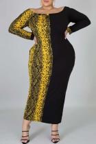 Fashion Plus Size Leopard Print Yellow And Black Dress