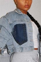 Sexy Fashion Beaded Blue Long Sleeve Denim Jacket