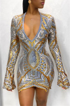 Fashion Sexy Sequin V-Neck Gold Long Sleeve Dress