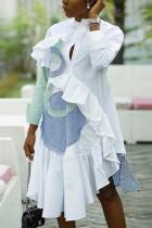 Fashion Striped Stitching Ruffled White Irregular Dress