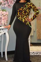 Fashion Leopard Printing Paneled Black Dress
