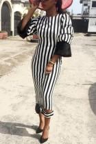 Fashion Temperament Printing Puff Sleeve Black Dress