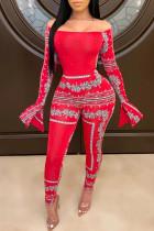 Fashion Off-Shoulder Red Bodysuit Tops Pant Set