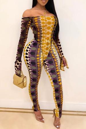 Fashion Off-Shoulder Yellow Bodysuit Tops Pant Set