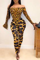 Fashion Off-Shoulder Leopard Bodysuit Tops Pant Set