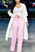 Fashion Casual Embroidered White Cardigan Coats
