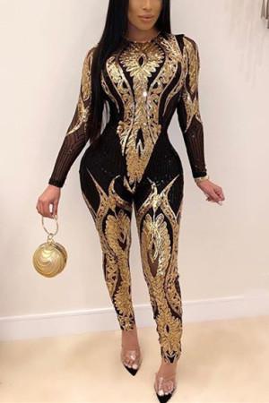 Fashion Long Sleeve Perspective Golden Sequins Jumpsuit