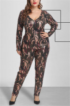 Fashion Sexy Sequin Camouflage Long Sleeve Jumpsuit