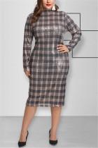 Fashion Sexy Sequin Plaid Gray Long Sleeve Dress