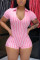 Sexy Striped Printing Short Sleeve Pink Romper