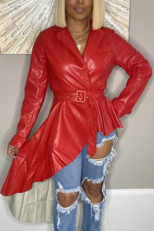 Fashion Long Sleeve V-neck Red PU Coats