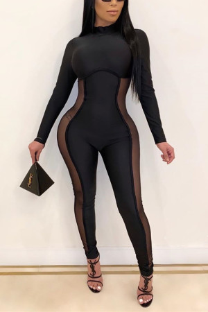 Sexy Perspective Long Sleeve Stitching Black Jumpsuit