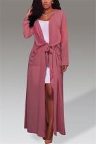 Fashion Long Sleeve Cardigan Pink Long Coat