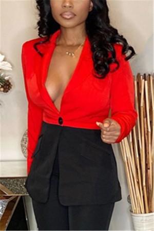 Fashion Stitching Red Leisure Blazer