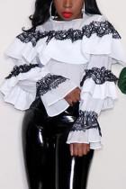 Fashion Casual Lace Stitching White Ruffled T-shirt