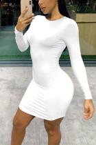 Sexy Round Neck Long Sleeve White Slim Dress