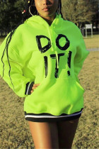 Fashion Casual Hooded Fluorescent Green Long Sleeve Dress