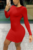 Sexy Round Neck Long Sleeve Red Slim Dress