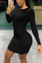 Sexy Round Neck Long Sleeve Black Slim Dress