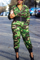 Fashion Casual Zipper Camouflage Green Two-Piece Suit
